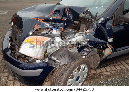 Remains of a wrecked car after a serious car crash