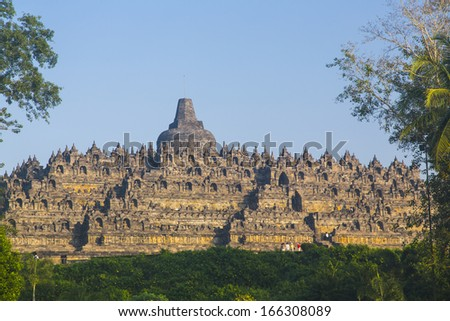 Remains of ancient Borobudur, Java, Indonesia - stock photo