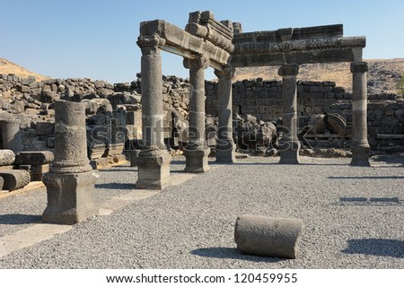 Remains of ancient buildings in the Korazim national park, Israel. - stock photo