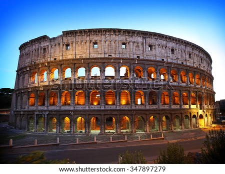 remains of ancient coliseum in Rome - stock photo