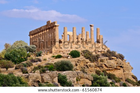 Remains of ancient Greek Temple of Juno at Agrigento, Sicily - stock photo