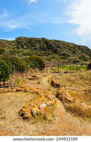 Remains of Capo Graziano prehistoric village, Filicudi Island, Aeolian Islands, Sicily, Italy. - stock photo