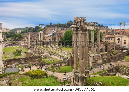 Remains of fantastic Roman Forum in Rome, Italy - stock photo