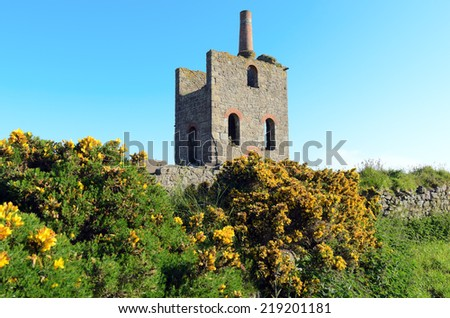 Remains of Higher Bal cornish tin mining industry near St Agnes Cornwall England - stock photo