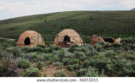 remains of Nicholia charcoal kilns that supplied coal for smelters at the Viola Mine, Birch Creek Valley, Idaho - stock photo