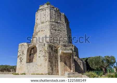 Remains of Roman tower in Nimes, Provence, France