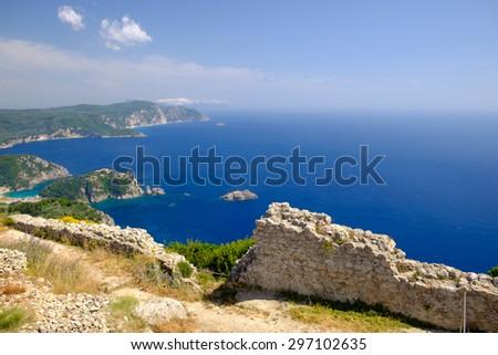 Remains of ruined walls, Angelokastro, Corfu, Greece. - stock photo