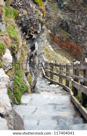 Remains of Stone Stairway, Tintagel Castle, Cornwall - stock photo