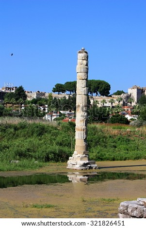 Remains of Temple of Artemis in Ephesus (Efes), Turkey
