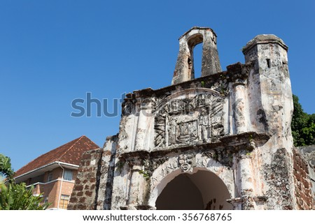 Remains of the A Famosa Portuguese Fort in Melaka, Malaysia - stock photo