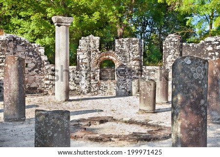 Remains of the ancient Baptistery dated from the 6th century at Butrint, Albania. - stock photo