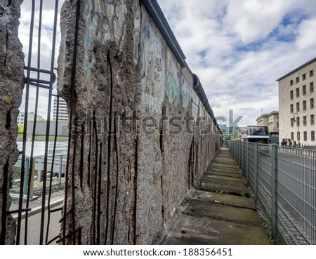 Remains of the Berlin Wall preserved along Bernauer Strasse