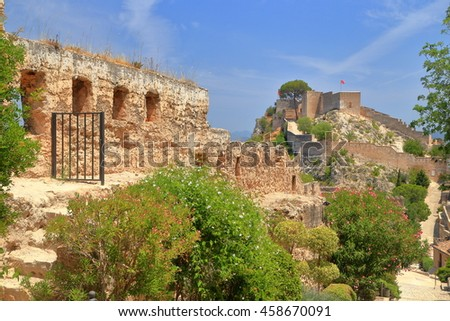 Remains of the medieval walls of the Xativa castle, Valencia, Spain