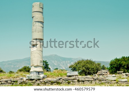 Remains of the most important ancient sanctuary of the goddess Hera located near port of Pythagoreion - stock photo