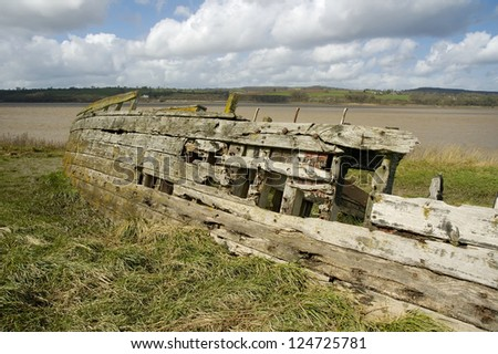 Remains of the Severn Collier, built in Stourport 1937, and beached at Purton in 1965 to help prevent the River Severn erroding into the Gloucester Sharpness Canal
