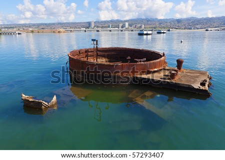 Remains of the U.S.S. Arizona in Pearl Harbor, Hawaii - stock photo