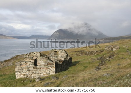 Remains of viking church near Hvals?, Greenland - stock photo