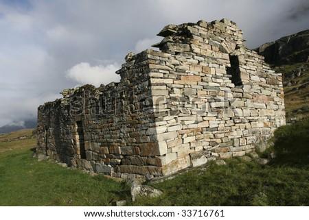 Remains of viking church near Hvals?, Greenland - stock photo