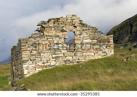 Remains of viking church near Hvals++, Greenland - stock photo