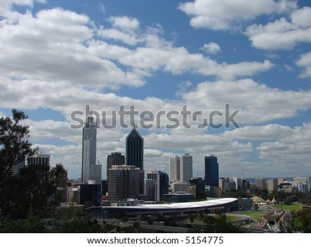 Remarkable Perth city skyline, against cloudy blue sky