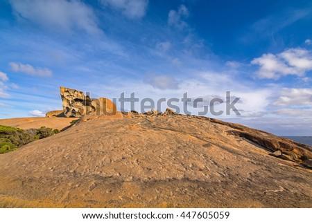 Remarkable Rocks, natural rock formation at Flinders Chase National Park. One of Kangaroo Island's iconic landmarks, South Australia - stock photo