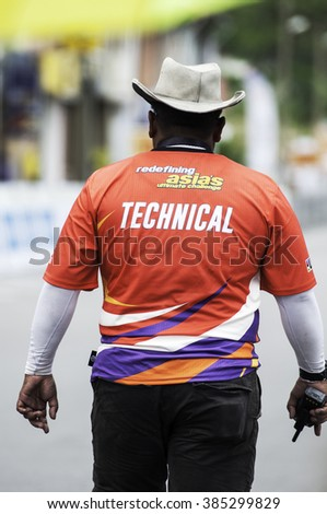 Rembau Feb 29 2016 unidentifiede event crew of Le tour de langkawi stage 6 at rembau malaysia