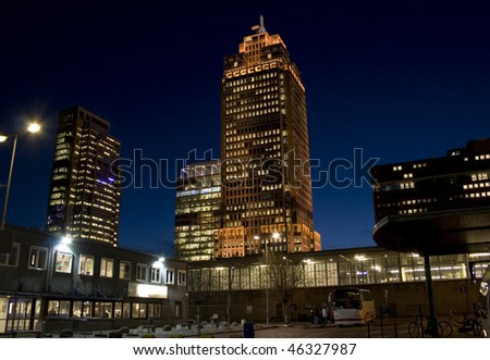 Rembrandt Tower by Night, Office buildings in Amsterdam, Netherlands