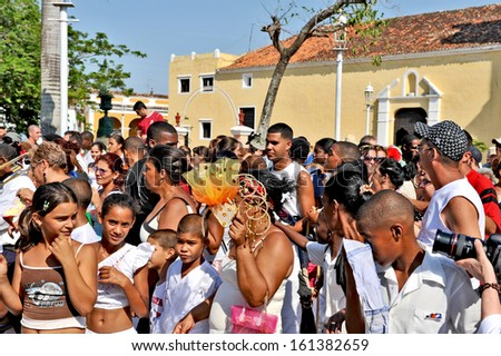 REMEIDOS, CUBA, OCTOBER 27, 2009. Lots of people in a town festival, in Remeidos, Cuba, on October 27th, 2009.