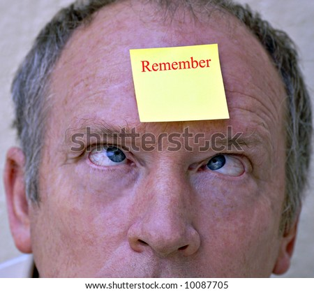 Remember - shallow depth of field to focus on post-it and eyes, change the wording to suit - stock photo
