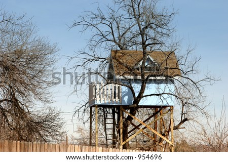 Remember when you used to what to hide out in something like this?  A tree house way up in the sky. - stock photo