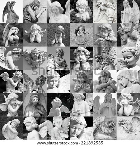 remembrance patter - made of many cemetery angelic statues - stock photo