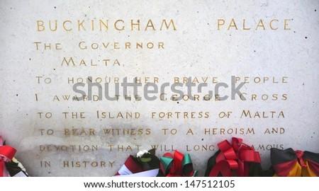 Remembrance Sunday, war memorial, Malta  - stock photo