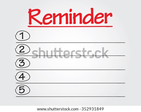 REMINDER list business concept, chart, diagram, presentation background - stock photo