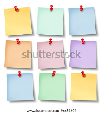 Reminder office notes with six blank paper memos on a white background wall pinned with a red thumb tack as a symbol of business communication and sending messages to employees. - stock photo