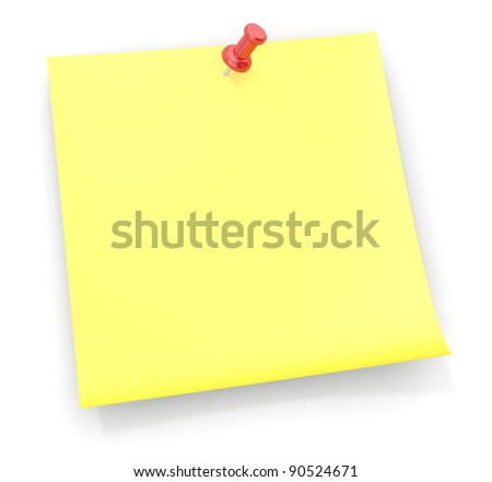 Reminder Sticky Note.Sticky Note with a red semi transparent plastic Pushpin. - stock photo
