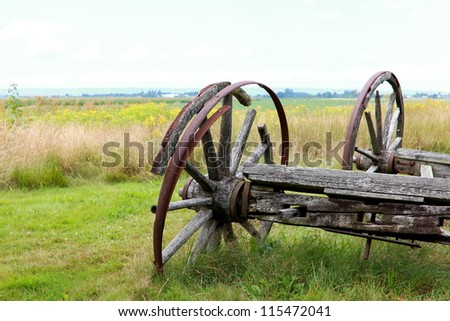 Remnants of a horse-drawn cart circa 1800's - stock photo