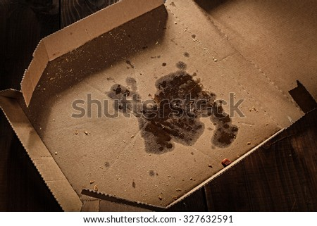remnants of pizza in delivery box - stock photo