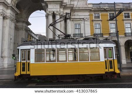 Remodelado on Commerce Square near Rua Augusta Arch in Lisbon in Portugal  - stock photo