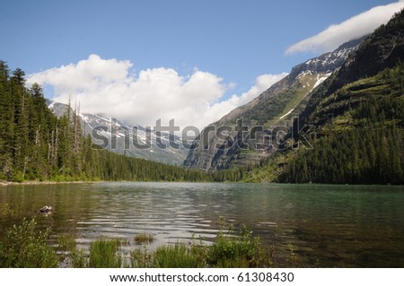 remote alpine lake with mountain glacier in background