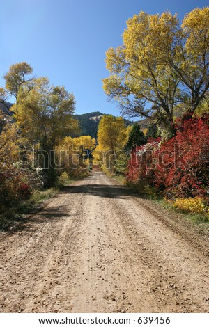 remote back road leading into the mountains, lined with the colors of autumn