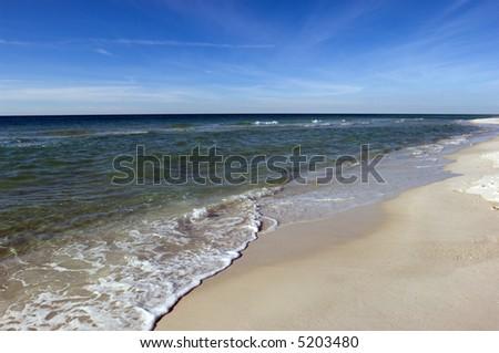 Remote barren white sand beach of Mexican Gulf coast - stock photo