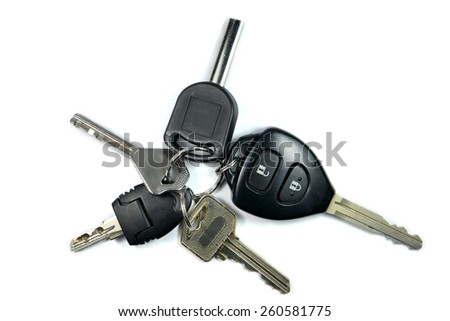 remote car key isolated on white background - stock photo