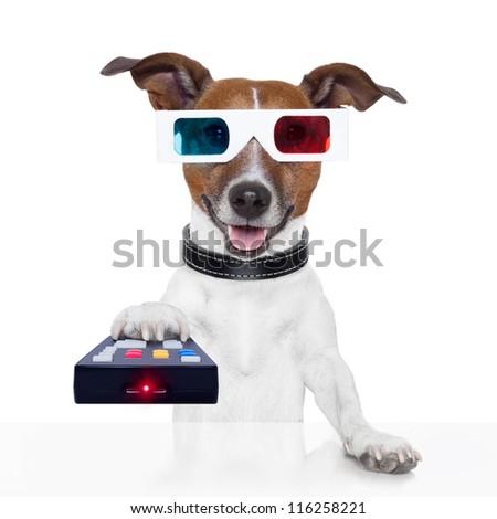 remote control 3d glasses tv movie dog - stock photo