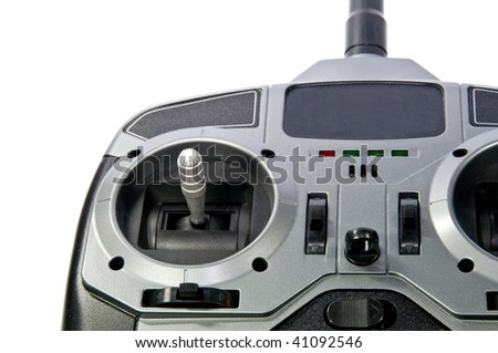 remote control detail, isolated on white - stock photo