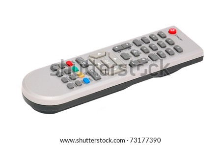 Remote control for cable TV set on white background - stock photo