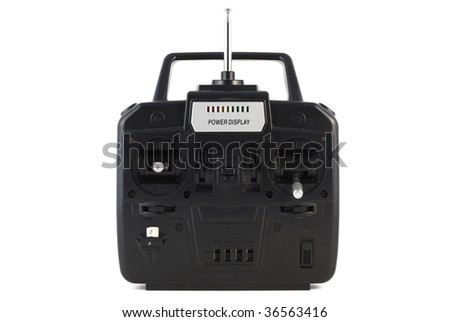 remote control for helicopter isolated on white background - stock photo