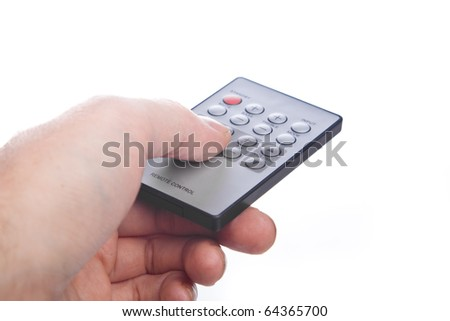 Remote Control in a hand. Isolated on white background - stock photo