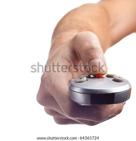Remote Control in a hand. Isolated on white background