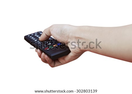 Remote control in hand, isolated over white background - stock photo