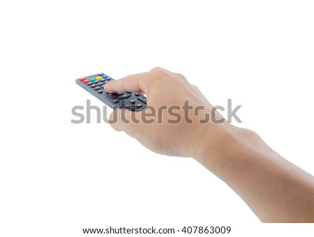 Remote control in hand, isolated over white background, clipping part